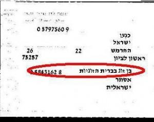 צילום מספח הרישום של תעודת הזהות הישראלית של מי שנשוי בברית הזוגיות