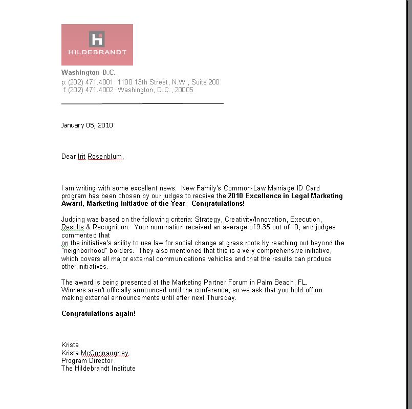 מכתב ההודעה על קבלת הפרס!